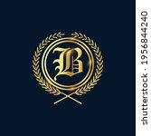 golden letter b laurel wreath... | Shutterstock .eps vector #1956844240