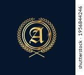 golden letter a laurel wreath... | Shutterstock .eps vector #1956844246