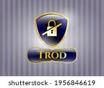 gold badge or emblem with... | Shutterstock .eps vector #1956846619