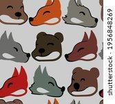 doodle forest animals fox  wolf ... | Shutterstock .eps vector #1956848269