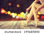 legs of woman and dark night  | Shutterstock . vector #195685850