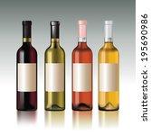 set of wine bottles with empty... | Shutterstock .eps vector #195690986