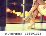 legs and woman in white  | Shutterstock . vector #195691316