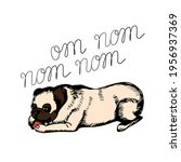 Cute Funny Pug Lies And Nibbles ...
