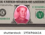 Small photo of Mao Zedong inside American Dollar. Ideas for Competition between China and USA, Risk of war, Taking over, Economy overtake, Changing world currency from US dollar to Chinese yuan
