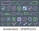 doodle check marks and...   Shutterstock . vector #1956991213