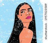 the drawing of a brunette girl...   Shutterstock .eps vector #1957023589
