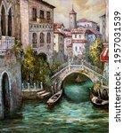 An Oil Painting Of Venetian...