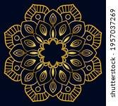 cute gold mandala. ornamental... | Shutterstock .eps vector #1957037269
