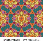 abstract colorful doodle flower ... | Shutterstock .eps vector #1957038313