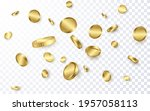 realistic gold coins explosion... | Shutterstock .eps vector #1957058113