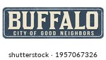 buffalo vintage rusty metal... | Shutterstock .eps vector #1957067326