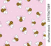 seamless pattern with bees on... | Shutterstock .eps vector #1957067389