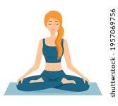 meditating woman. girl in lotus ...   Shutterstock .eps vector #1957069756