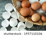 Fresh Brown Eggs And Feathers...