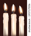 three white candles isolated on ... | Shutterstock .eps vector #195717056