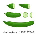 set of cucumbers   whole  half... | Shutterstock .eps vector #1957177360