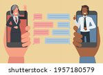 business people chat on mobile...   Shutterstock .eps vector #1957180579
