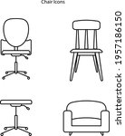 chair icon set isolated on...