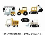 hand drawn cute cars   truck ... | Shutterstock .eps vector #1957196146