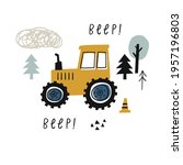 hand drawn cute cars   tractor. ... | Shutterstock .eps vector #1957196803