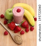 raspberry smoothie with... | Shutterstock . vector #195722060