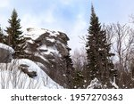 Mountain old man stone (mountain with a human face) Ural, Russia