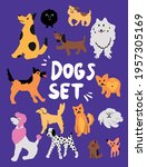 Dogs Set Vector Adorable Funny...