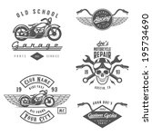 set of vintage motorcycle... | Shutterstock .eps vector #195734690