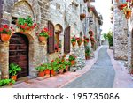 picturesque lane with flowers... | Shutterstock . vector #195735086