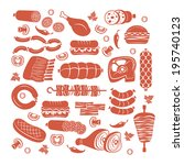 set of flat vector meat and... | Shutterstock .eps vector #195740123