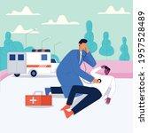 emergency illustrated ambulance ... | Shutterstock .eps vector #1957528489