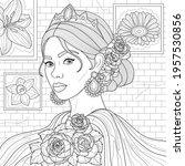 girl with roses in her hair... | Shutterstock .eps vector #1957530856