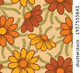 70's inspired floral seamless... | Shutterstock .eps vector #1957555843