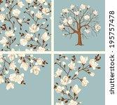 Set. Blooming Magnolia. Vector...