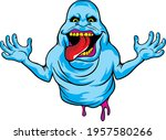 scary blue ghost for t shirt... | Shutterstock .eps vector #1957580266
