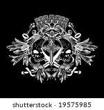 two skulls on heraldic crowned...