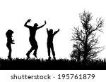 vector silhouette of family on...   Shutterstock .eps vector #195761879