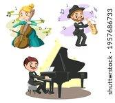 group of handsome musician man...   Shutterstock .eps vector #1957686733