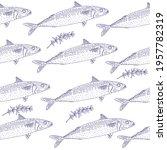 hand drawn of fish mackerel and ... | Shutterstock .eps vector #1957782319