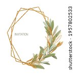 geometric gold frame of green... | Shutterstock . vector #1957802533
