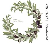 wreath of olive tree branches... | Shutterstock . vector #1957802536