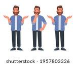 choice concept. a bearded man... | Shutterstock .eps vector #1957803226