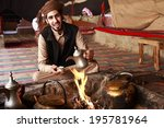bedouin man serving arabic... | Shutterstock . vector #195781964