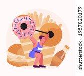men do weight training to burn... | Shutterstock .eps vector #1957820179