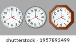set and wall clock in realistic ... | Shutterstock .eps vector #1957893499
