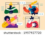 online meeting or education...   Shutterstock .eps vector #1957927720