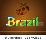 brazil name with football theme | Shutterstock .eps vector #195792818