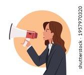 business woman speaking through ... | Shutterstock .eps vector #1957970320
