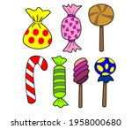 colorful candy set hand drawn... | Shutterstock .eps vector #1958000680